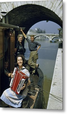 Playing And Listening To An Accordion Metal Print by Justin Locke