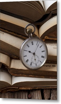 Pocket Watch On Pile Of Books Metal Print by Garry Gay