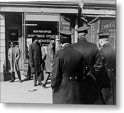 Police Standing Outside A Black Muslims Metal Print by Everett