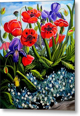 Poppies And Irises Metal Print by Renate Nadi Wesley
