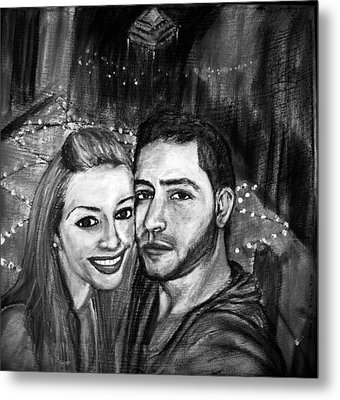 Metal Print featuring the pastel Portrait In Black And White by Amanda Dinan