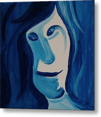 Portrait In Blue Metal Print by Sheep McTavish