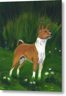 Metal Print featuring the painting Portrait Of A Basenji by Sharon Nummer