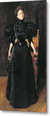 Portrait Of A Lady In Black Metal Print by William Merritt Chase