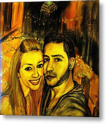 Metal Print featuring the pastel Portrait Of A Young Couple by Amanda Dinan