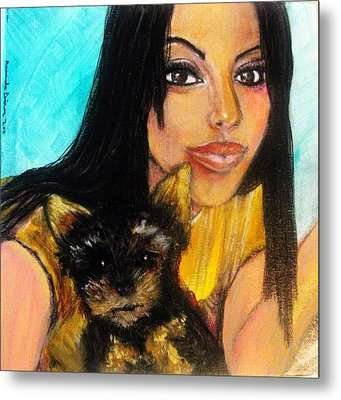 Metal Print featuring the pastel Portrait Of A Young Woman And Her Puppy 2 by Amanda Dinan