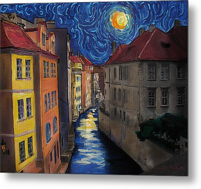 Prague By Moonlight Metal Print