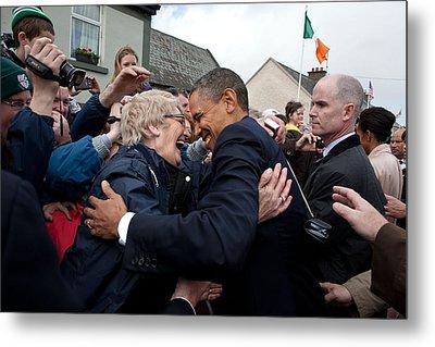 President Barack Obama Greets A Local Metal Print by Everett