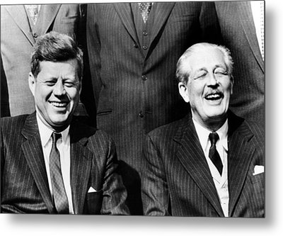 President John Kennedy And British Metal Print by Everett