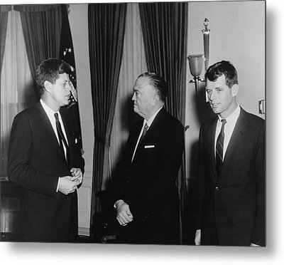 President Kennedy, J. Edgar Hoover Metal Print by Everett