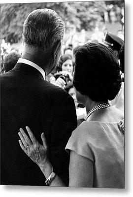President Lyndon Johnson And Wife Lady Metal Print by Everett