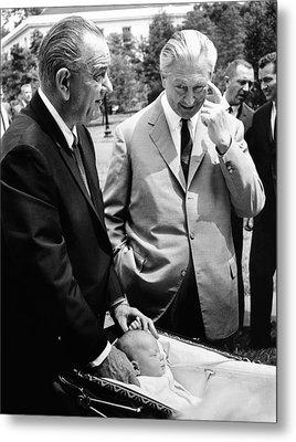 President Lyndon Johnson Gives German Metal Print by Everett