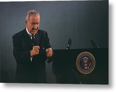 President Lyndon Johnson In An Emphatic Metal Print by Everett
