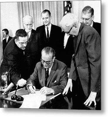 President Lyndon Johnson Signs The 24th Metal Print