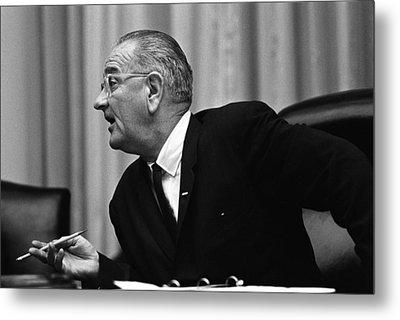 President Lyndon Johnson Speaking Metal Print by Everett