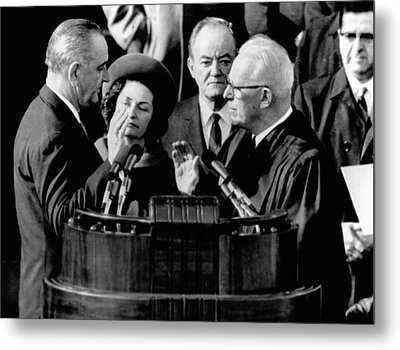 President Lyndon Johnson Takes The Oath Metal Print by Everett