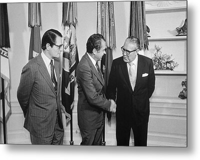 President Nixon With Attorney-general Metal Print by Everett