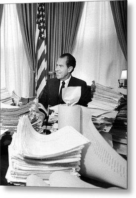 President Richard Nixon Sitting Among Metal Print by Everett