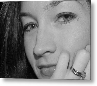 Pretty Face With Ring Near Cheek Metal Print by Robert Ulmer