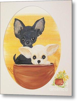Pups In A Pot Metal Print by Rachel Carmichael