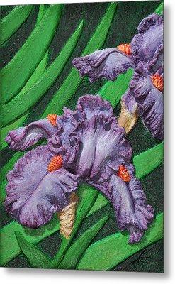 Purple Iris Flowers Sculpture Metal Print by Valerie  Evanson