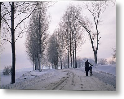 Pushing A Bike Along A Snow Covered Metal Print by Gordon Wiltsie