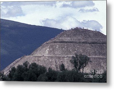 Metal Print featuring the photograph Pyramid Climbers Teotihuacan Mexico by John  Mitchell