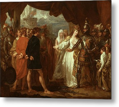 Queen Philippa Interceding For The Lives Of The Burghers Of Calais Metal Print by Benjamin West