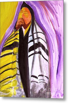 Rabbi Praying With Kabbalah Metal Print by Stanley Morganstein