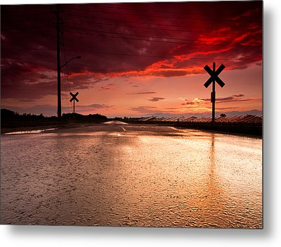 Railroad Sunset Metal Print by Cale Best