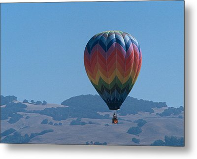 Rainbow Balloon Over Hills Metal Print