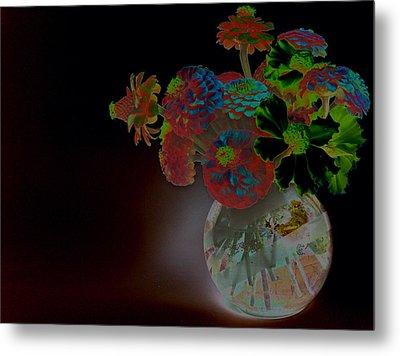 Rainbow Flowers In Glass Globe Metal Print by Padre Art