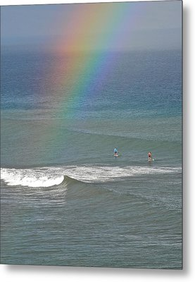 Metal Print featuring the photograph Rainbow Mists And Surfing Too by Kirsten Giving