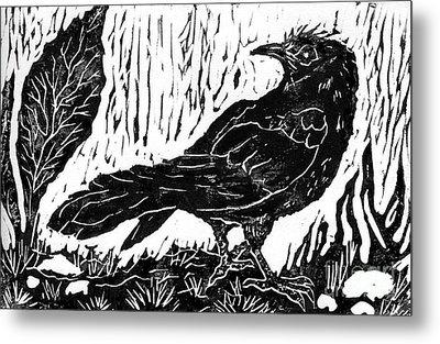 Rainy Day Crow Metal Print by Ellen Miffitt
