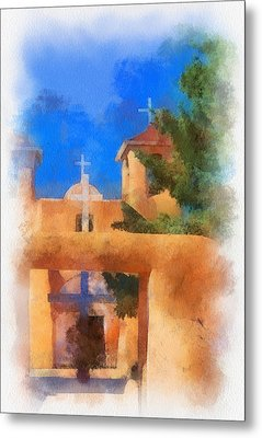 Ranchos Church Gate - Aquarell Metal Print by Charles Muhle