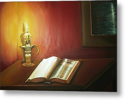 Reading By Candlelight Metal Print