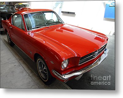 Red 1965 Ford Mustang Metal Print by Wingsdomain Art and Photography