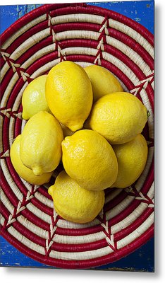 Red And White Basket Full Of Lemons Metal Print by Garry Gay