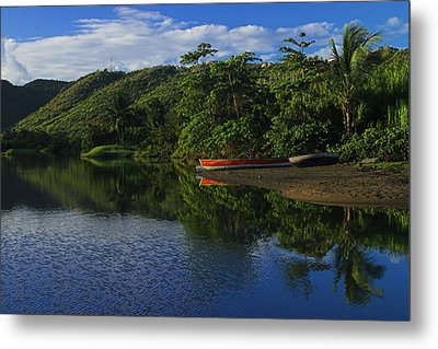 Red Canoe On Roseau River- St Lucia Metal Print by Chester Williams