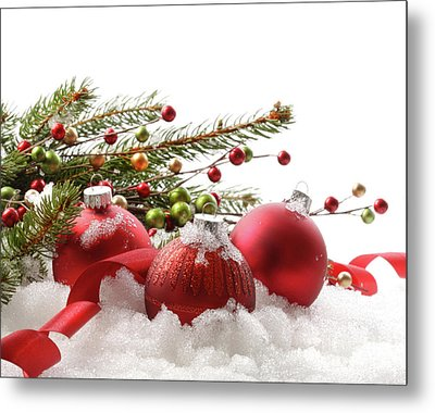Red Christmas Balls In The Snow  Metal Print by Sandra Cunningham