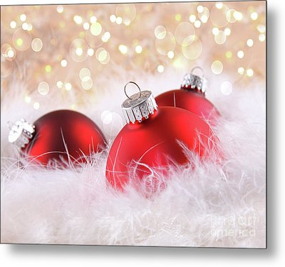 Red Christmas Balls With Abstract Background Metal Print by Sandra Cunningham
