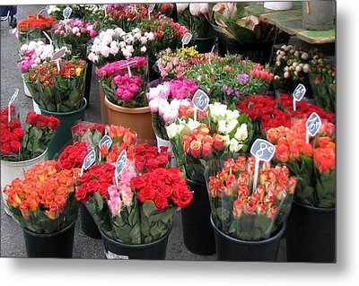 Red Flowers In French Flower Market Metal Print by Carla Parris