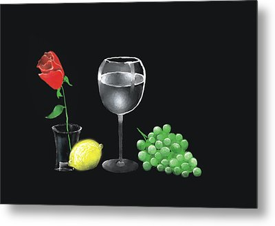 Red Rose And Grapes Metal Print by Larry Cirigliano