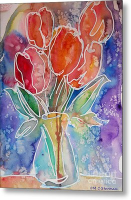 Red Tulips Metal Print by M C Sturman