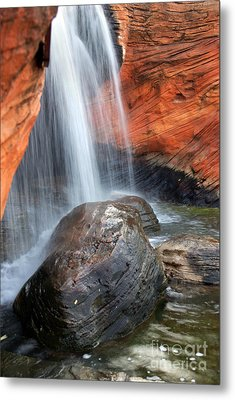 Red Waterfall Metal Print
