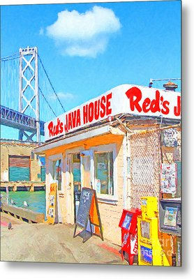 Reds Java House And The Bay Bridge At San Francisco Embarcadero Metal Print by Wingsdomain Art and Photography