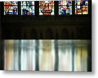 Reflecting On The Beauty Of Canterbury Cathedral Metal Print by Lisa Knechtel