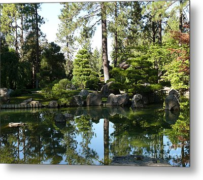 Reflections In A Japanese Garden Metal Print by Terri Thompson