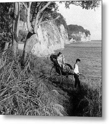 Rickshaw By The Negishi Seashore Metal Print by Everett