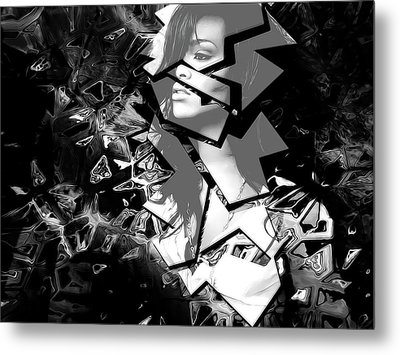 Rihanna Shattered Metal Print by Anibal Diaz